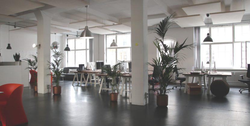 Tystare kontorslandskap med gardiner